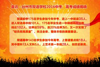 喜讯:台州市双语学校2016中考、高考成绩揭晓
