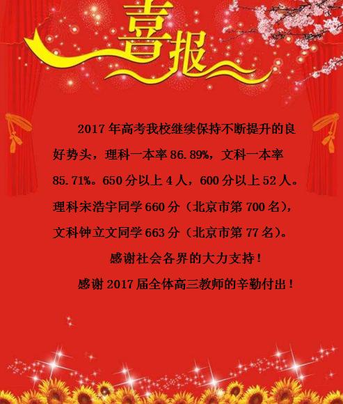 喜报|北京工业大学附属中学2017年高考再传捷报